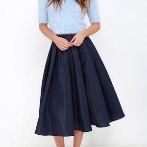 Lulu's Navy Blue Midi Skirt